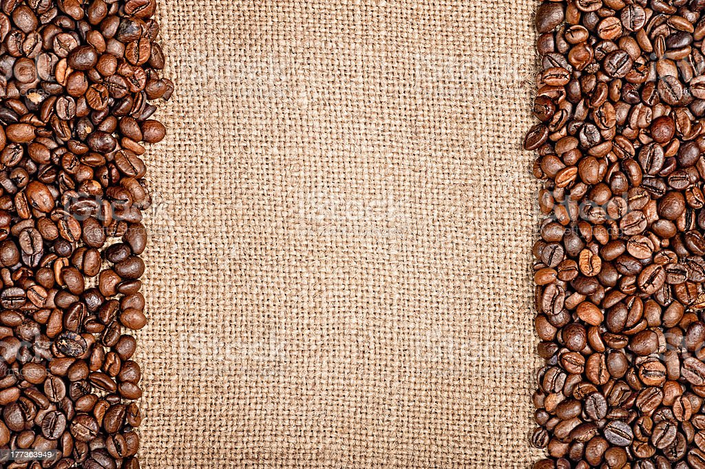 Coffee beans and sackcloth royalty-free stock photo