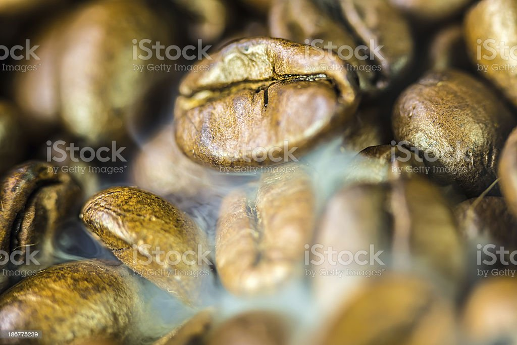 Coffee beans and smoke royalty-free stock photo