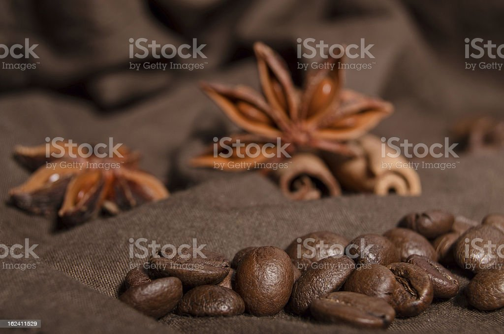 coffee beans and star anise, cinnamon royalty-free stock photo