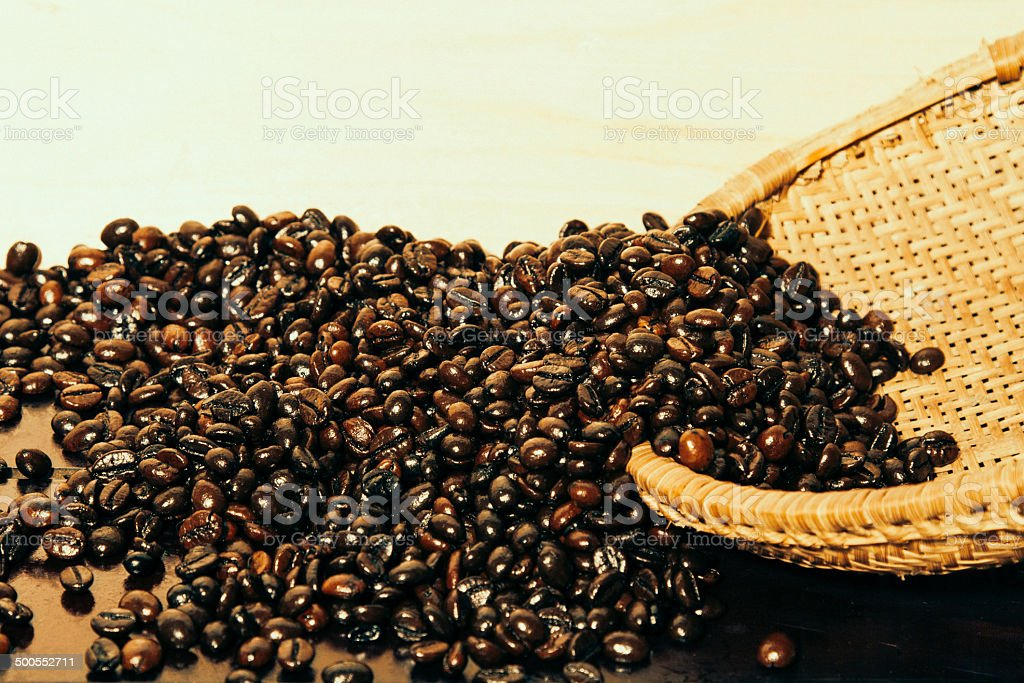 Coffee Beans and Wood Background royalty-free stock photo