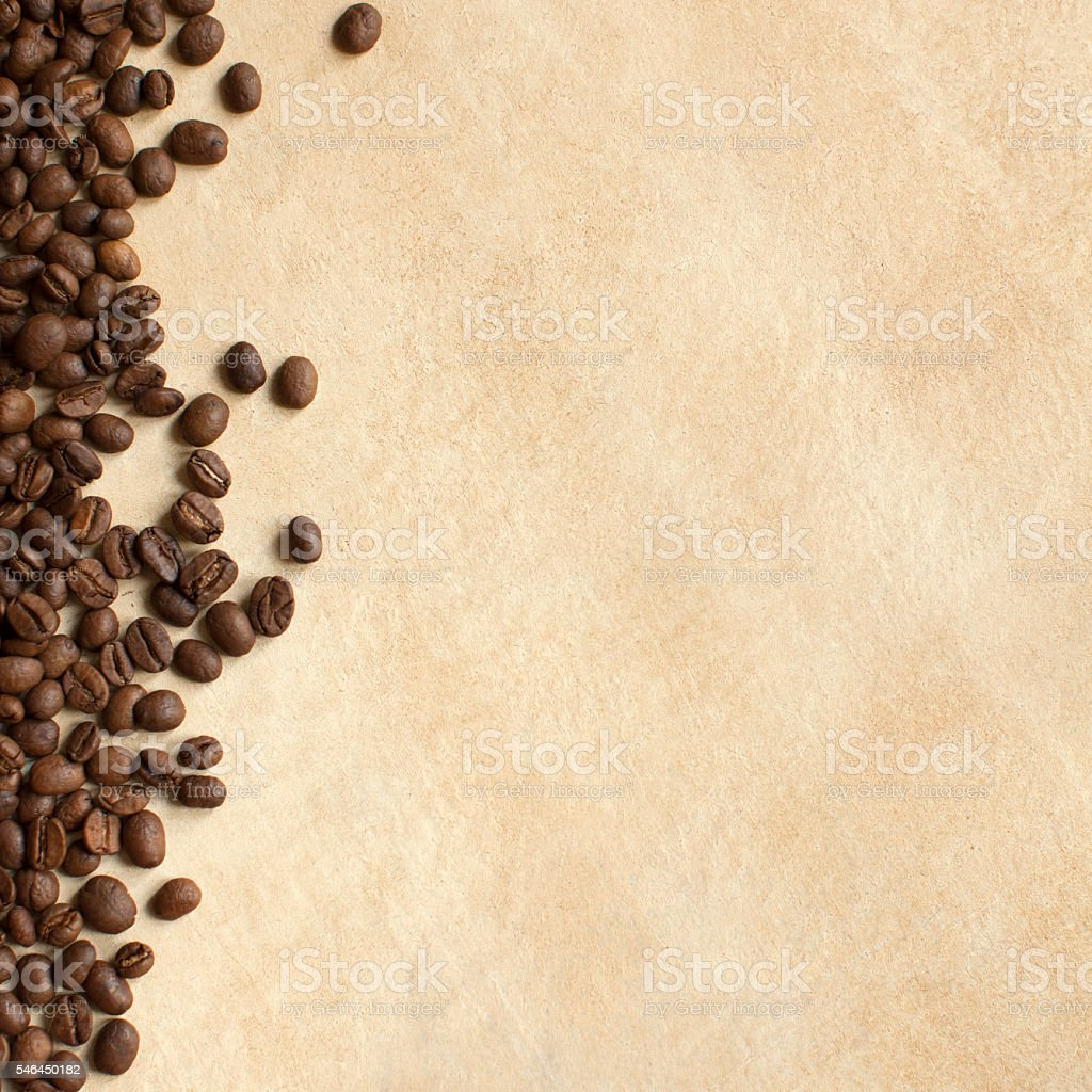 Coffee beans background. Copy space stock photo