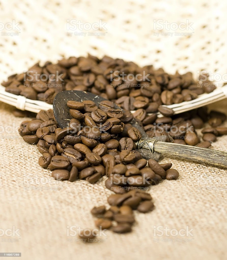 coffee beans, basket and spoon royalty-free stock photo