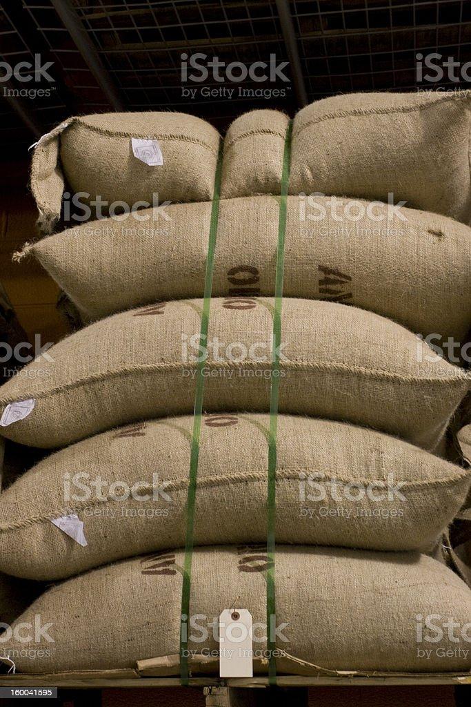 Coffee Beans Burlap Sacks royalty-free stock photo