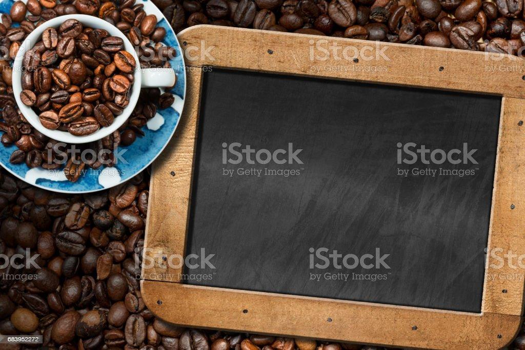 Coffee Beans - Coffee Cup - Empty Blackboard stock photo