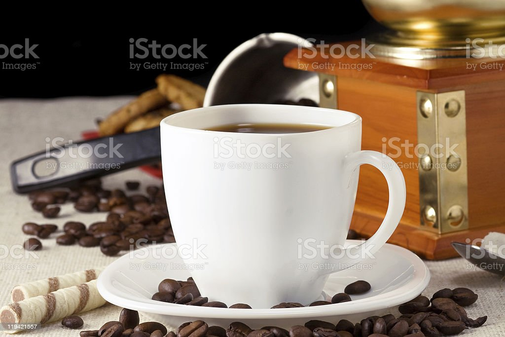 coffee beans, cup and grinder royalty-free stock photo