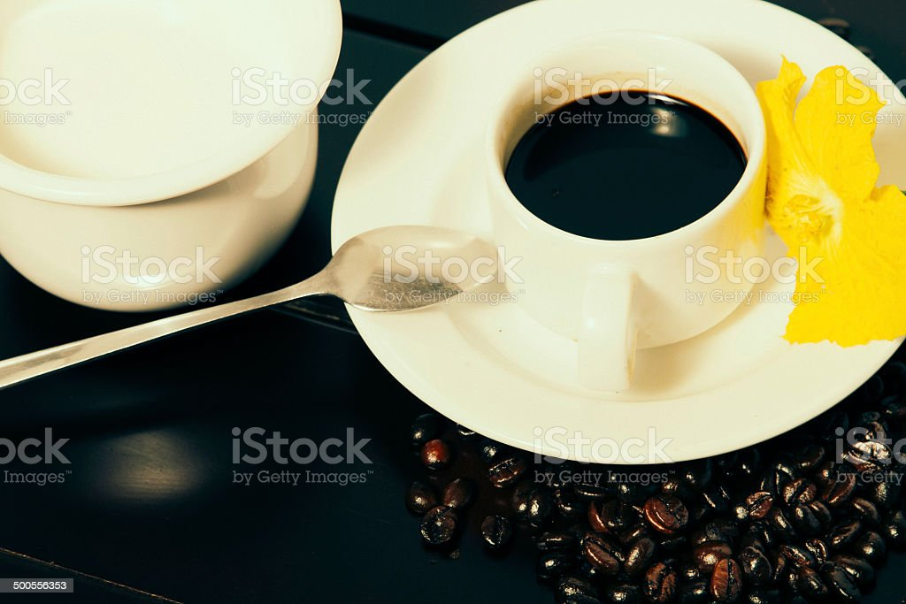 Coffee Beans ,Cup And Melon Flower royalty-free stock photo