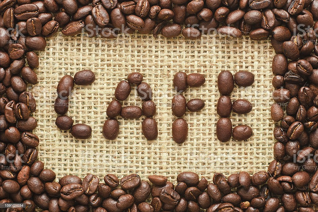 coffee beans frame with cafe text on sacking royalty-free stock photo