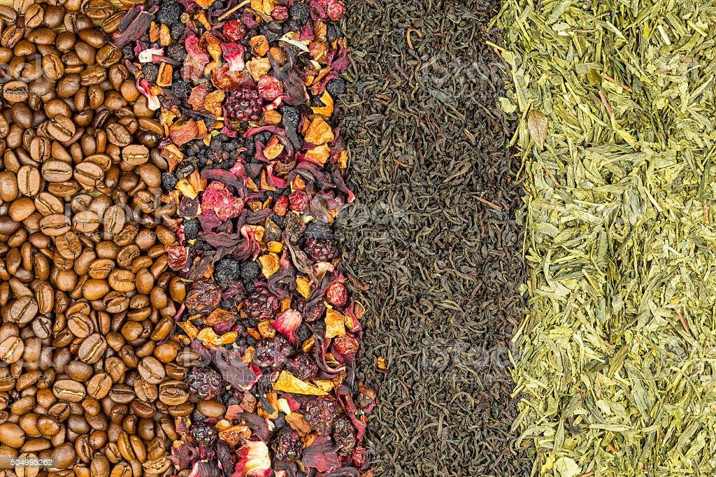 Coffee beans, fruit tea, black tea and green tea royalty-free stock photo