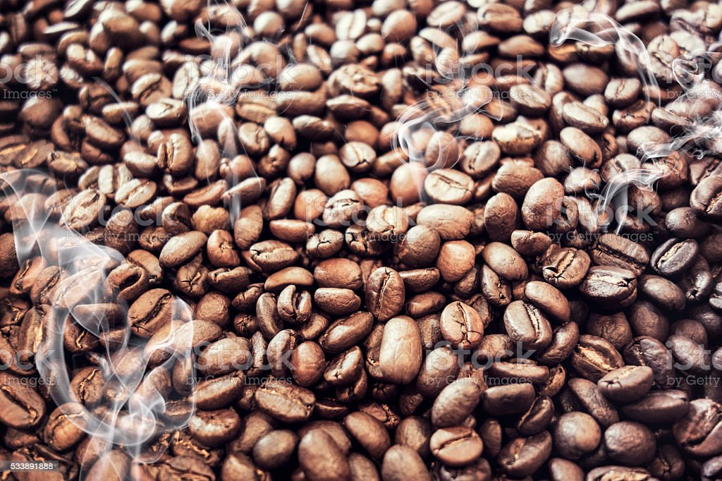 Coffee beans getting freshly roasted stock photo