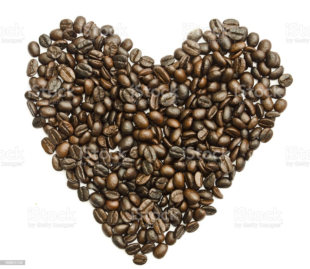 Coffee beans heart on white background royalty-free stock photo