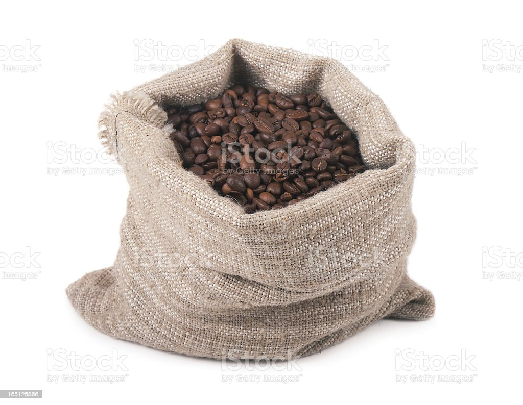Coffee beans in a bag royalty-free stock photo