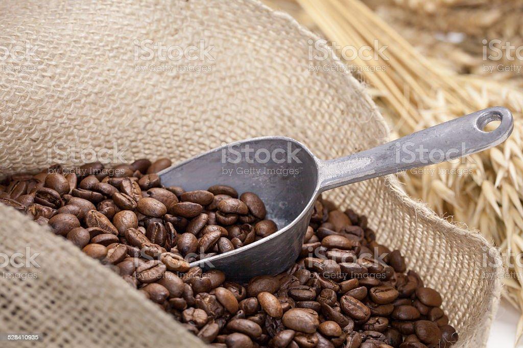 Granos de café en un saco de foto de stock libre de derechos