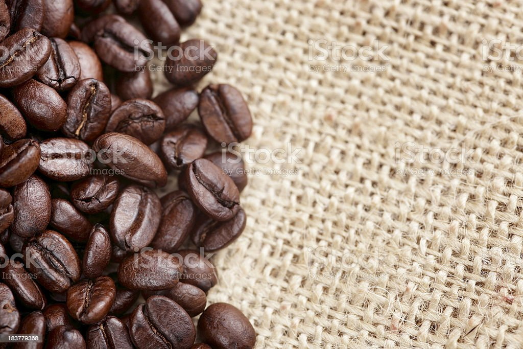 coffee beans in a burlap bag with extreme details royalty-free stock photo
