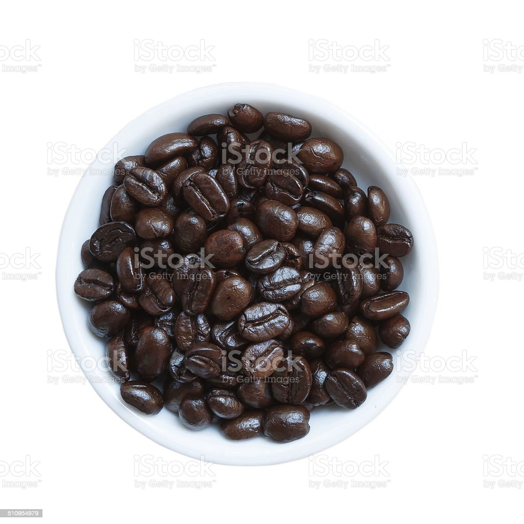 Coffee Beans in a ceramic bowl stock photo