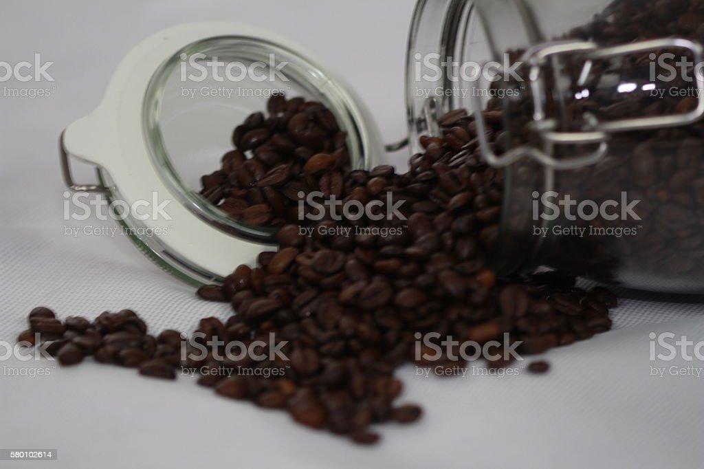 Kaffeebohnen im Glas stock photo
