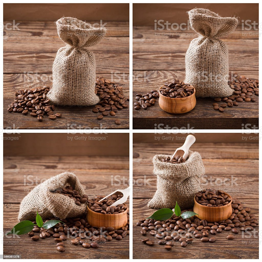 Coffee beans in bag and green leaf on wood background, stock photo