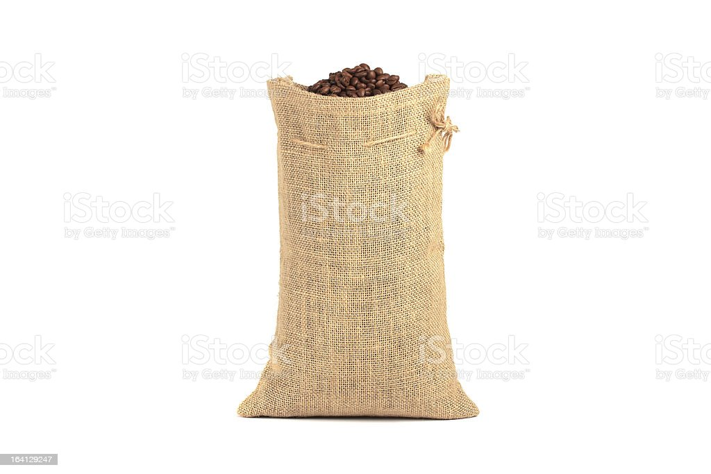 Coffee beans in bag royalty-free stock photo