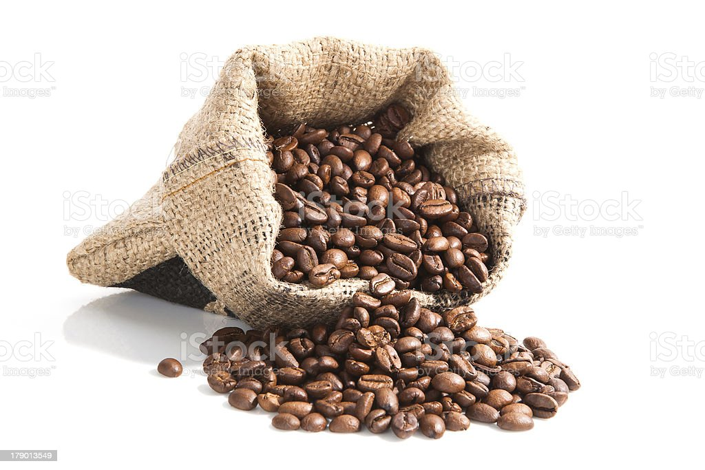 coffee beans in brown bag. stock photo