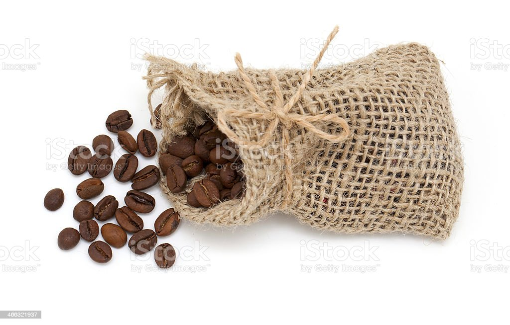 coffee beans in burlap bag isolated on white background stock photo