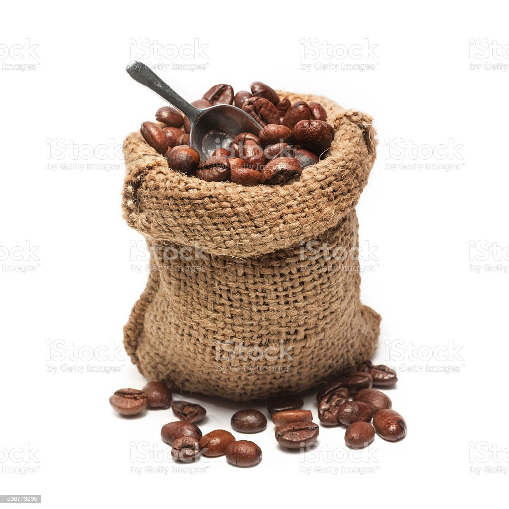 coffee beans in burlap bag stock photo