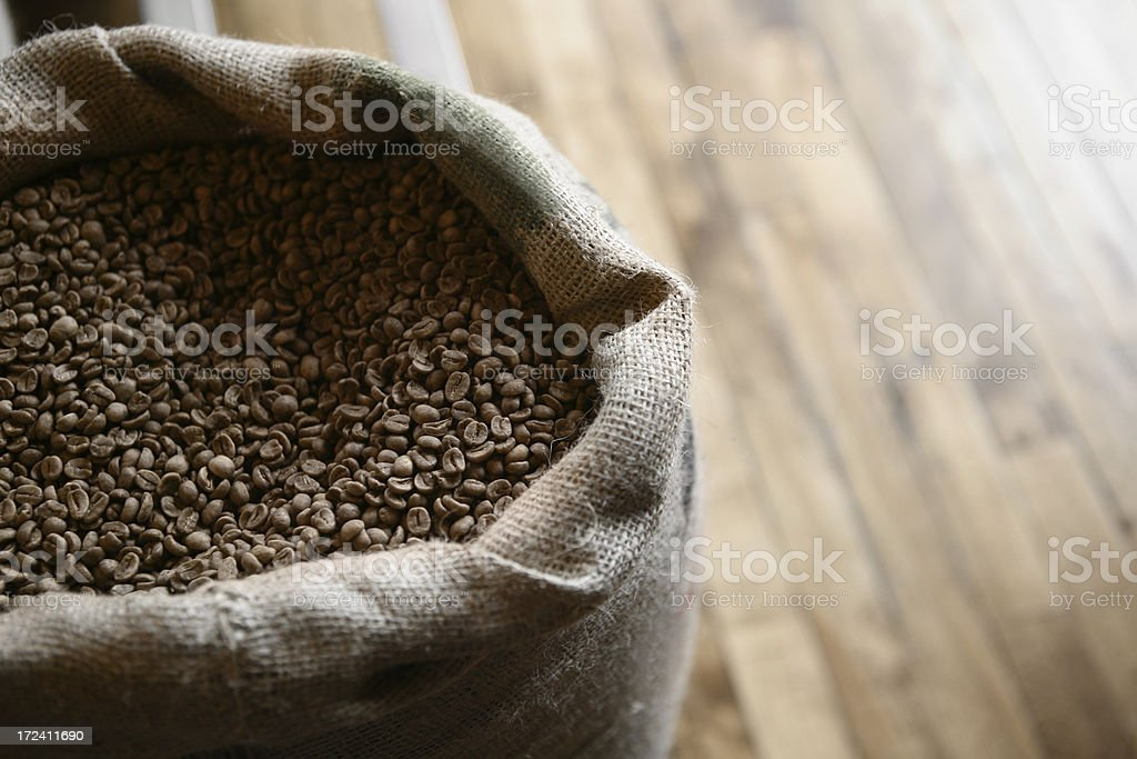Coffee Beans in Burlap Sack royalty-free stock photo