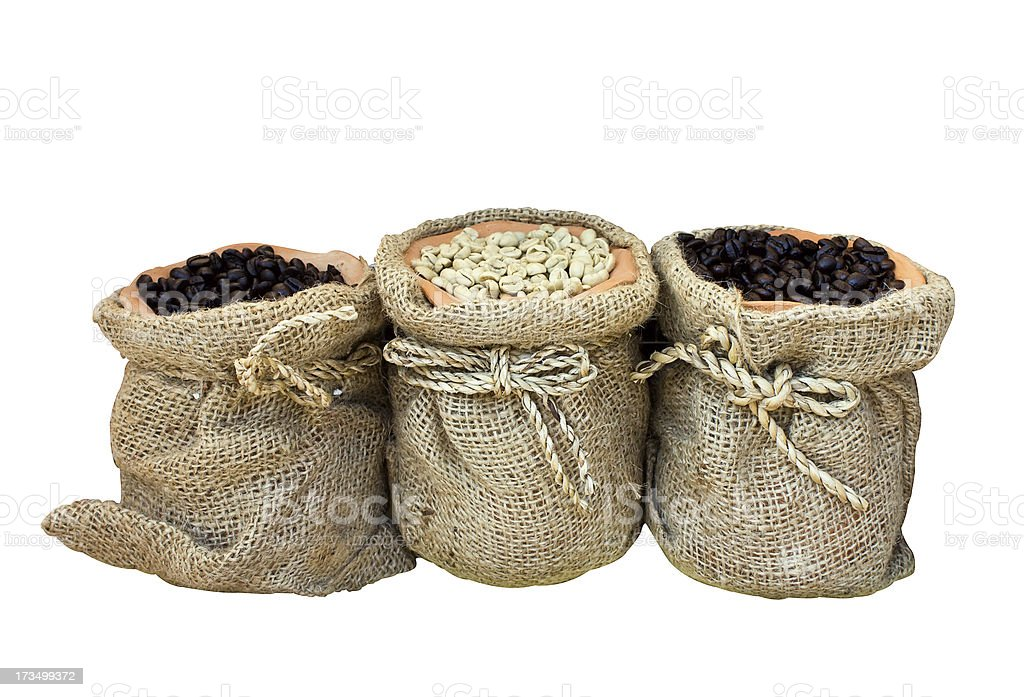Coffee beans in canvas bag royalty-free stock photo