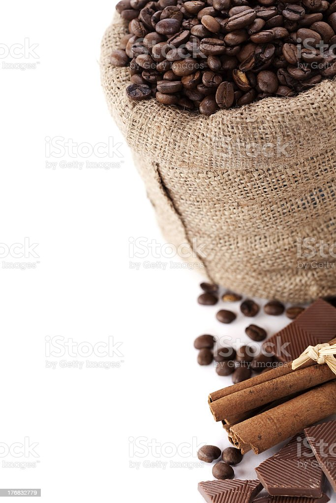 Coffee beans in canvas sack royalty-free stock photo