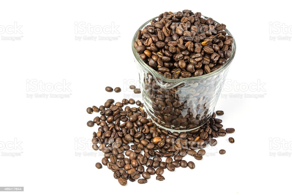 Coffee beans in glass jug royalty-free stock photo