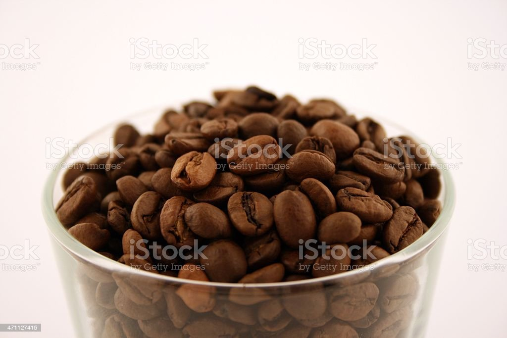 Coffee beans in glass stock photo