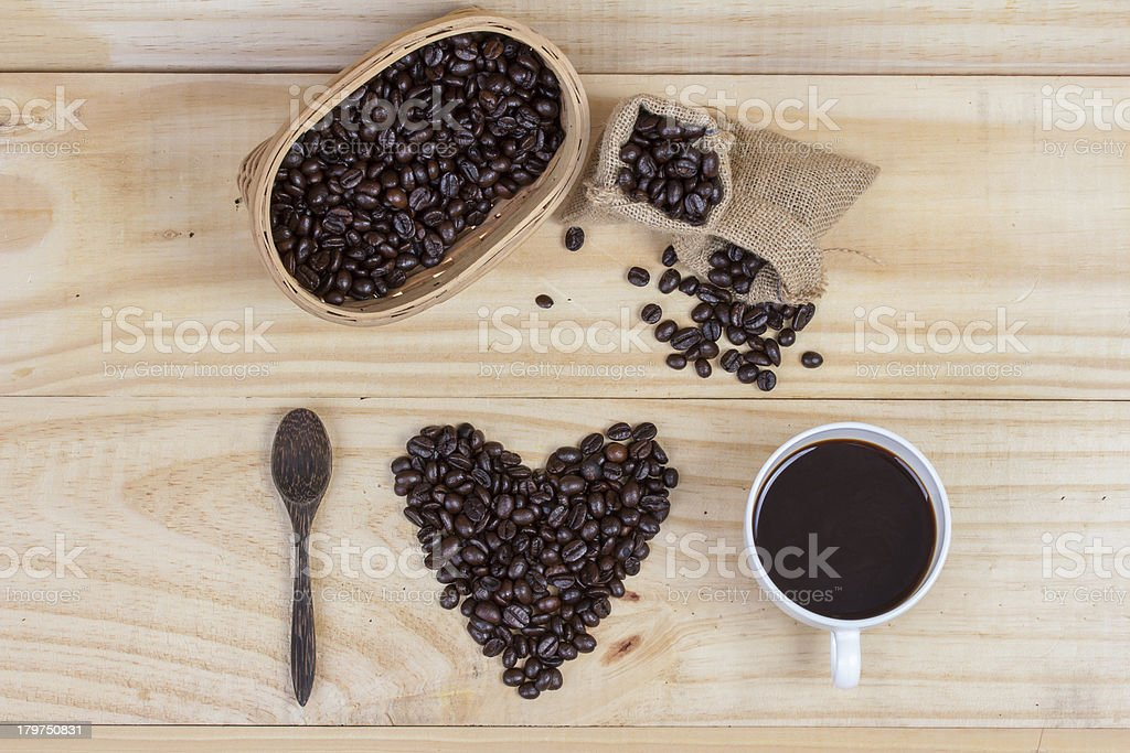 coffee beans in heart shape royalty-free stock photo