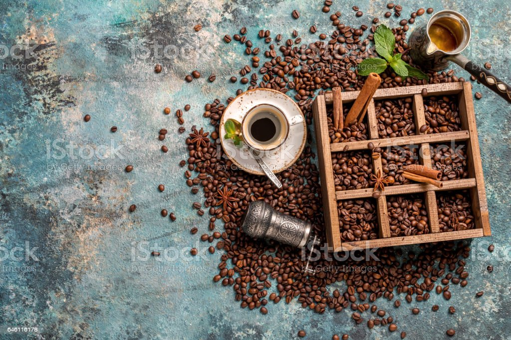 coffee beans in old wooden box stock photo
