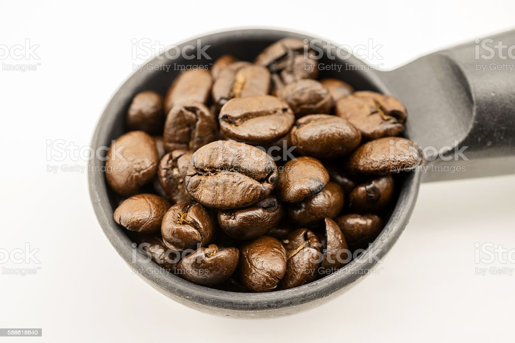 coffee beans in portafilter stock photo