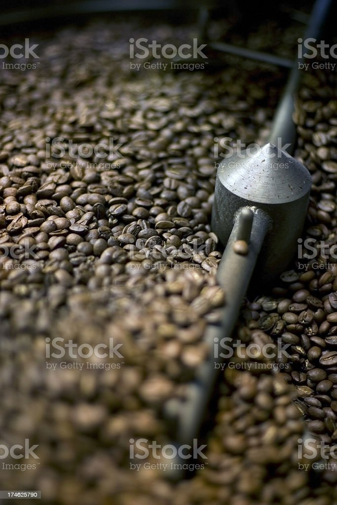 Coffee Beans in Roasting Machine royalty-free stock photo