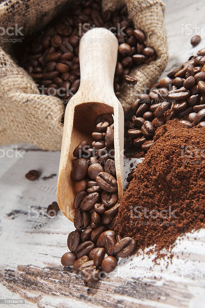 Coffee beans in sack. royalty-free stock photo