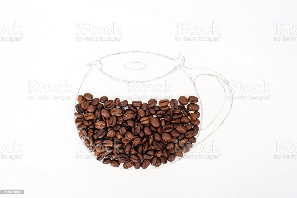 coffee beans in sketched kettle stock photo