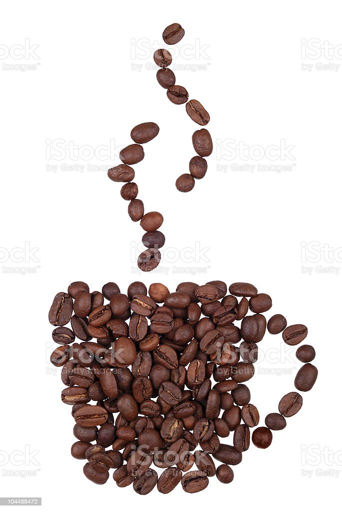 Coffee beans in the form of cup with steam royalty-free stock photo
