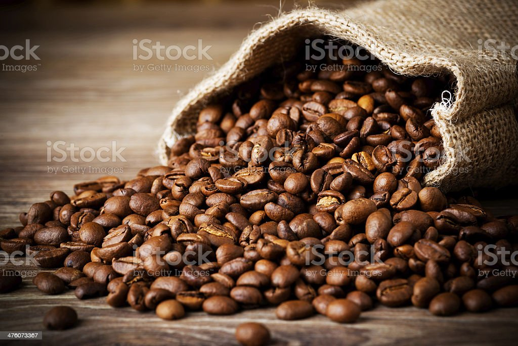 Coffee beans in the sack stock photo