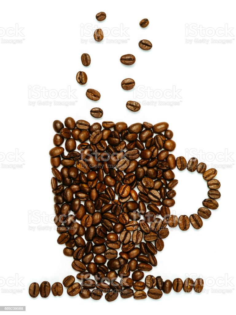 Coffee beans in the shape of mug stock photo