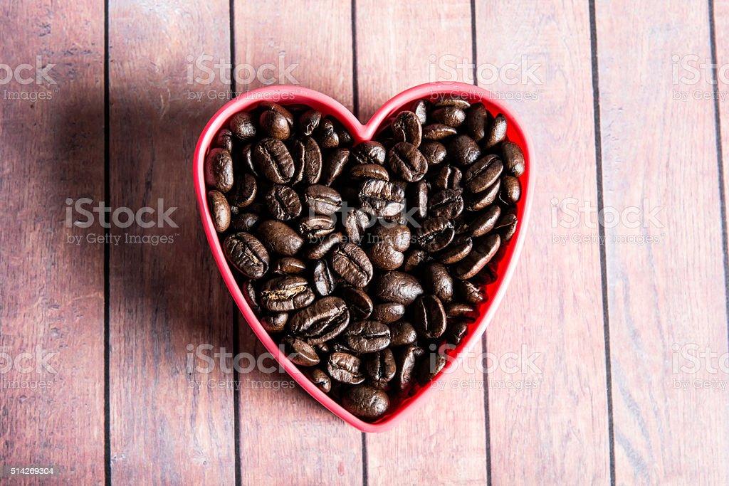 Coffee Beans love heart stock photo
