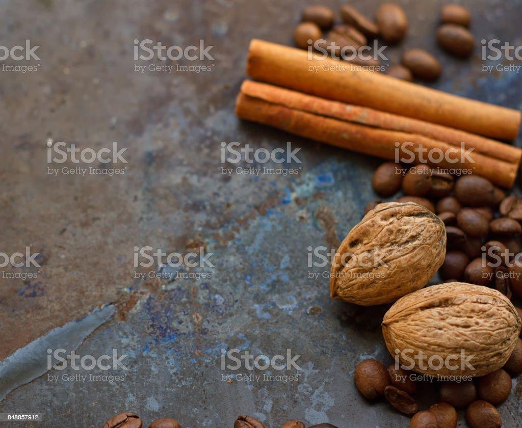 coffee beans nuts cinnamon stick stock photo