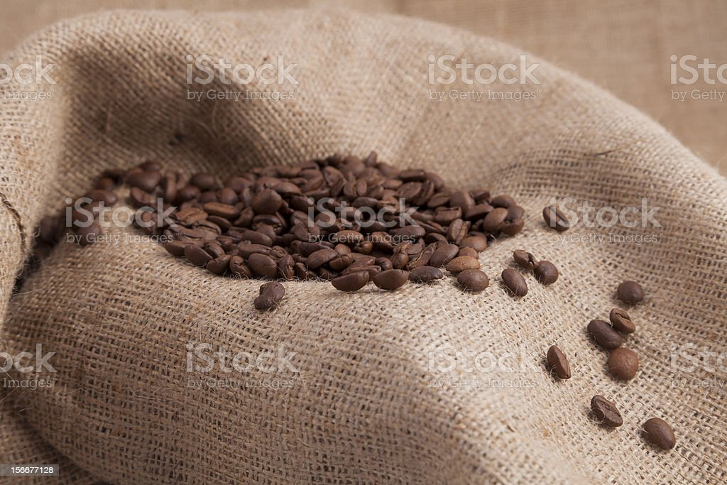 Coffee beans on a bag royalty-free stock photo