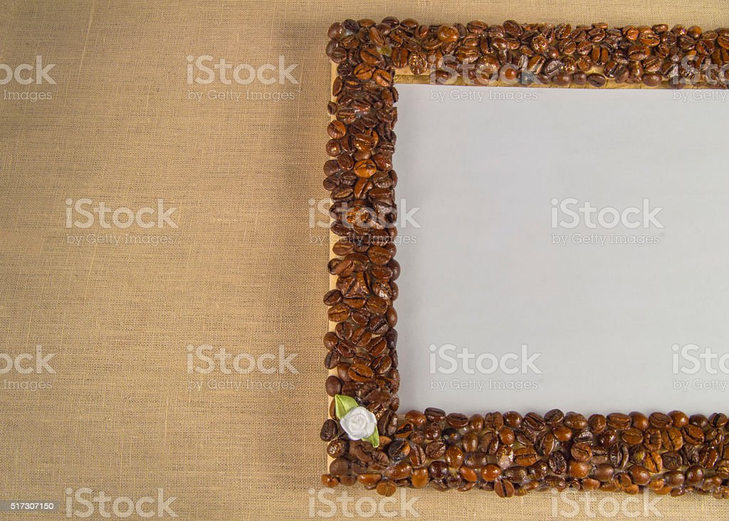 Coffee beans on a  frame. Empty space for your text stock photo