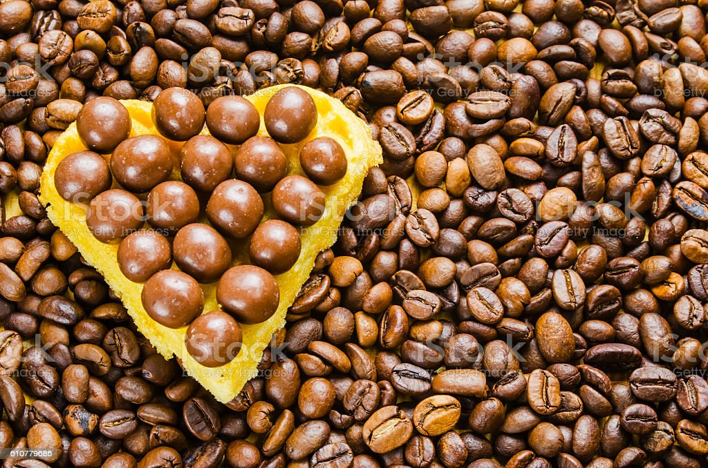 coffee beans on a wooden table stock photo