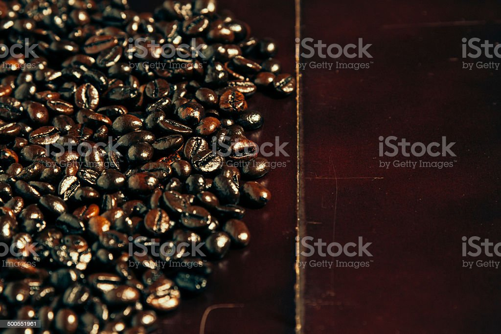 Coffee Beans on BlackWood royalty-free stock photo