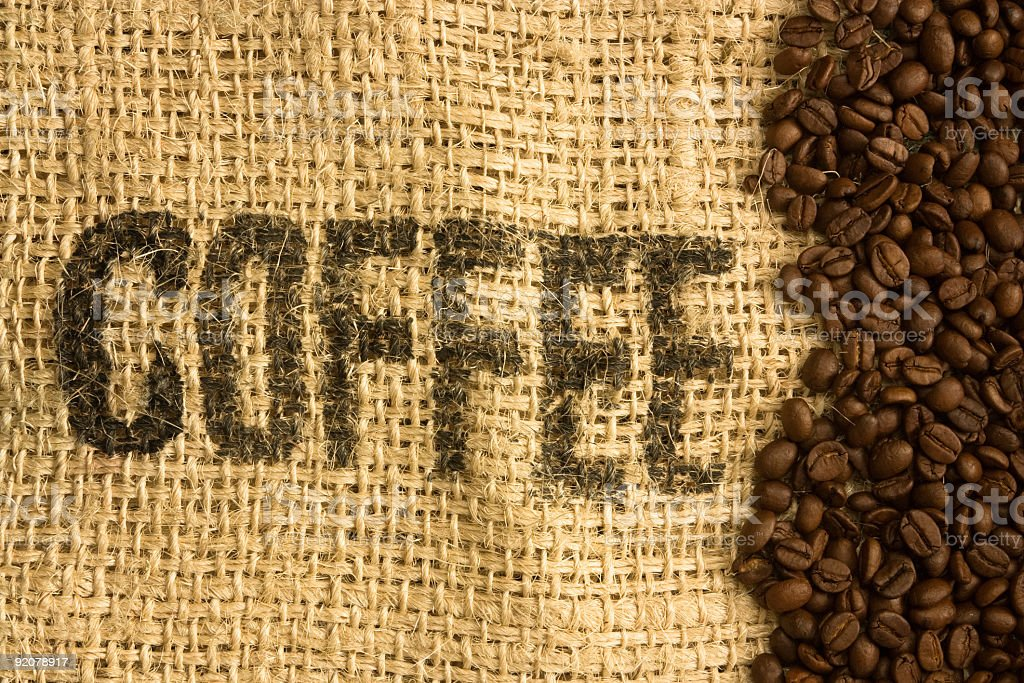 Coffee Beans on burlap bag royalty-free stock photo
