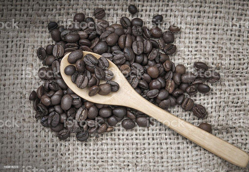 Coffee beans on burlap royalty-free stock photo