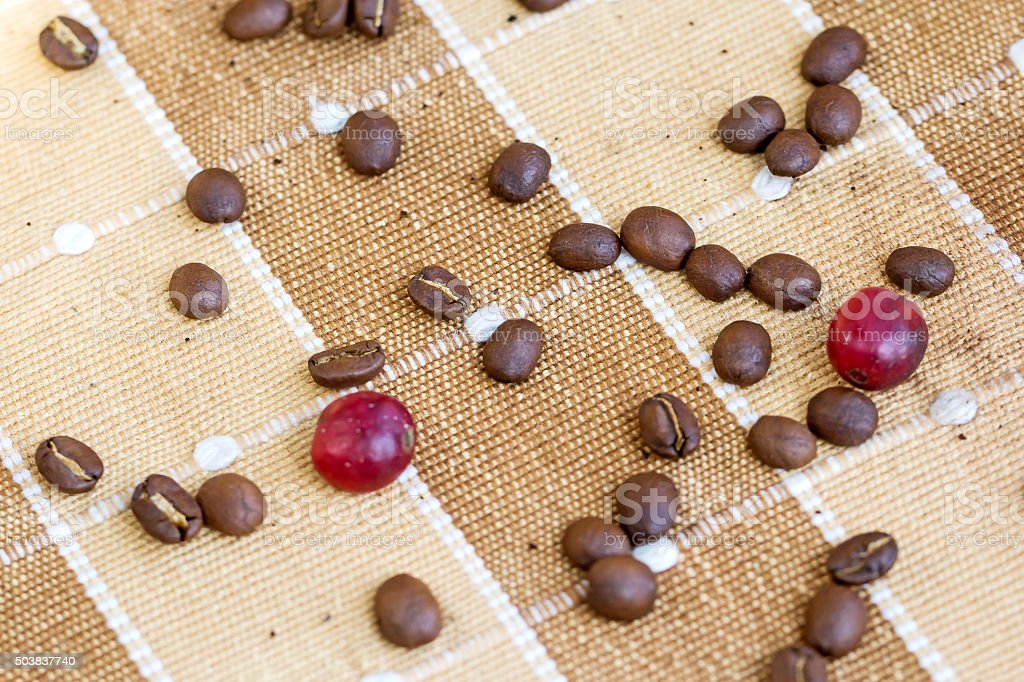 coffee beans on canvas texture background stock photo