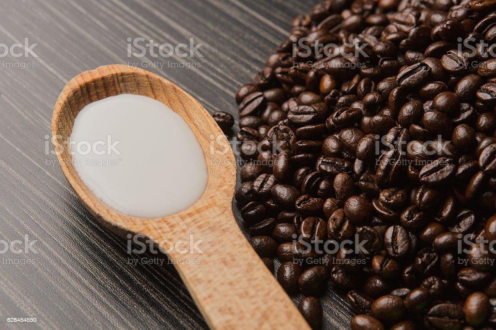 Coffee beans on dark background stock photo