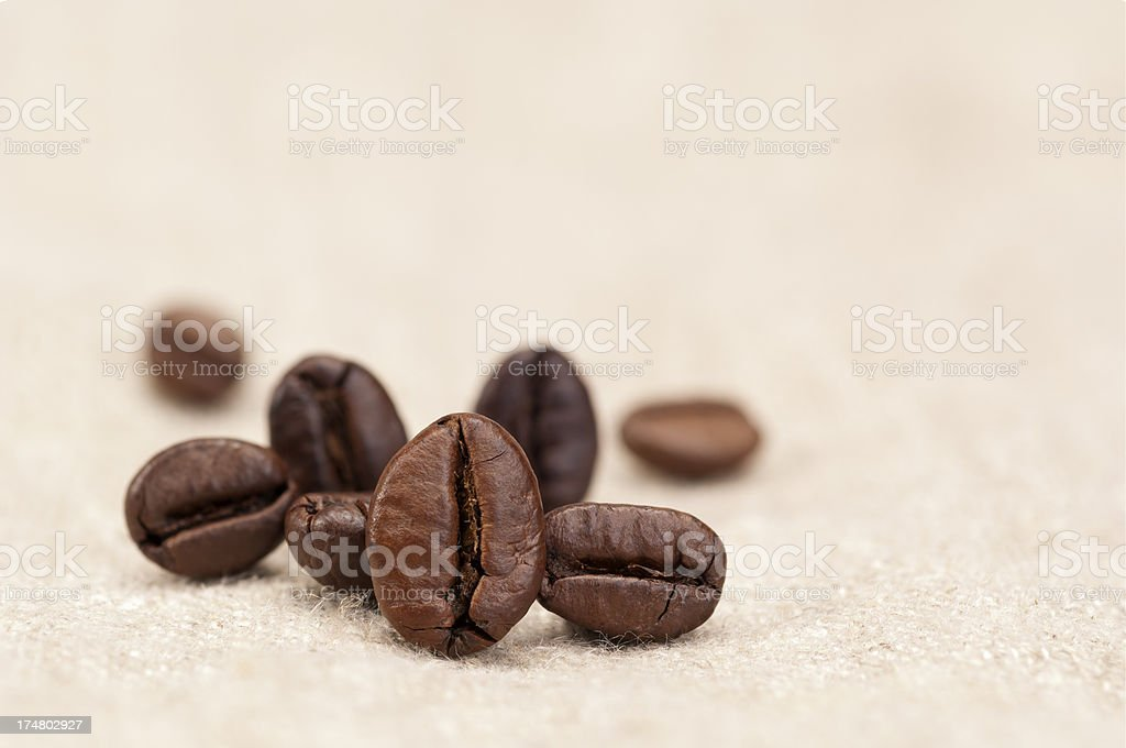 Coffee Beans on fabric royalty-free stock photo