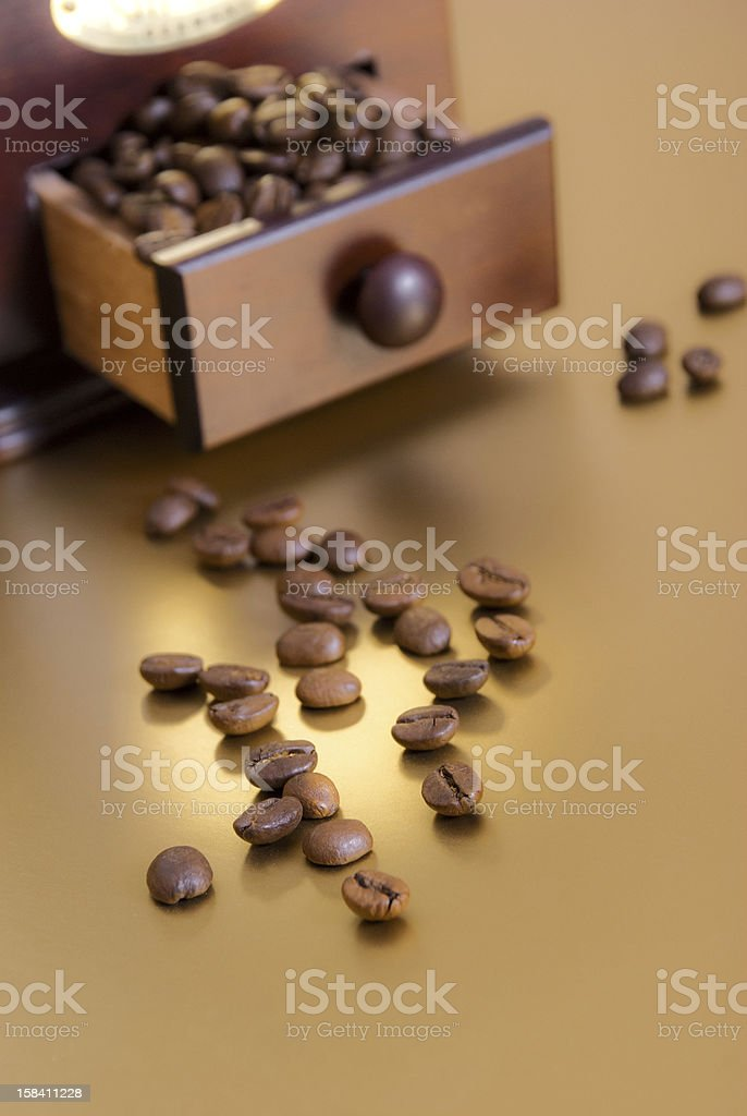 Coffee beans on golden background royalty-free stock photo